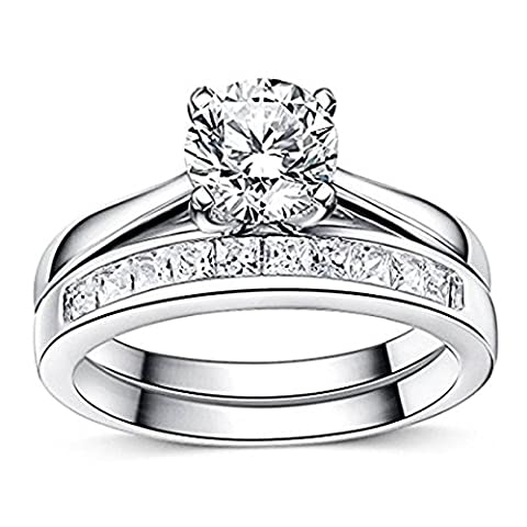 925 Sterling Silver Princess Diamond Cut Crystals Accent Love Forever Eternity Engagement Wedding Rings for women, teenage girls, Size UK M J L K N P Q R O S, with Gift Box, Ideal Gift for Christmas