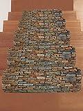 SHASHA Treppen-Teppich Treppenstufen Rechteck Anti-Rutsch-Teppich Treppenmatten Teppiche Pads Treads Steinwand Treppenhaus Matte