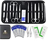 24Pcs Advanced Dissection Kit for Medical Biology & Veterinary Students- Anatomy Lab Botany Animal Frog etc Dissecting Tool Set. Dissecting Kit Premium Stainless Steel Scalpel Knife Handle-11 Blades-2 Sutures thread