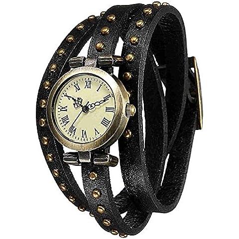 YARBAR Cuarzo estilo punk retro pulsera círculos remaches de cuero reloj número romano Brazalete