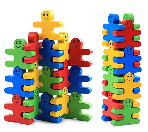 Pulchram Building Blocks Toys 16 Pieces Creative Wooden Puzzle Party Favors Supplies for Kids Children