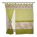 TupTam Kinderzimmer Vorhänge 2er Set mit Schleifen 155x95cm , Farbe: Bärchen Grün, Größe: ca. 155x95 cm