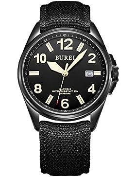 Burei Herren-Armbanduhr HM-15025-36EY2, mit Datumsanzege, im Militär-Stil, Saphirglas, leuchtende Zahlen, Automatikuhr...