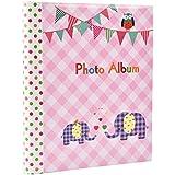 Album fotografico grande per bambini, 20 fogli autoadesivi, 40 facce, motivo elefantini, ottima idea regalo