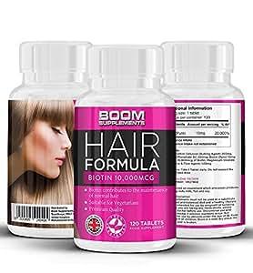 Biotina Capelli Vitamine 10.000mcg | # 1 Biotin Capelli 120 compresse | Biotina crescita capelli | Completo di 4 mesi | Sicuro ed efficace | 30-giorni rimborso garantito