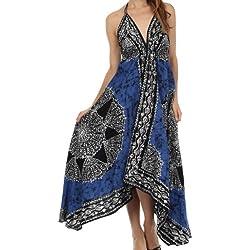 Sakkas B02 - vestido batik tipo pañuelo ajustable con bajo el pecho -Negro / Azul-One Size