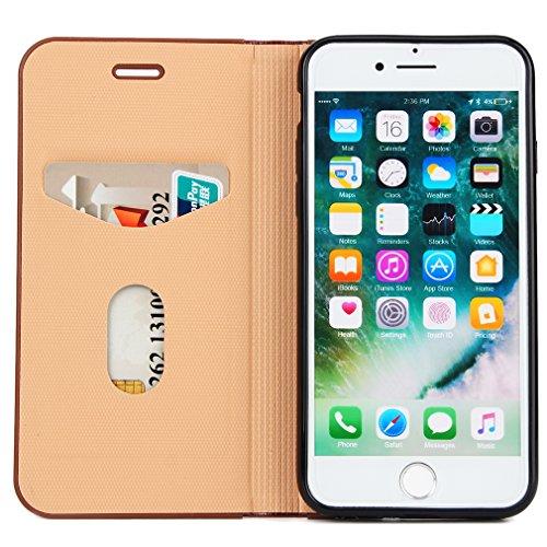 2017 Neu Hochwertige Kohlefaser automatische Saug-Schnalle Hülle Case ,TPU + Leder Cover Full Body Schutz für apple iphone 7(Gray) Braun