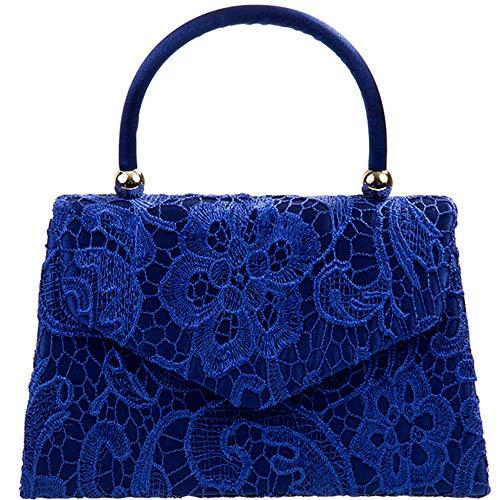 Other , Damen Clutch blau royal blue lace China Blue Royal Satin