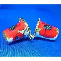 Birchcroft Porcelaine Chine à Collectionner Dé à Coudre–Aiguille Coque Coquelicot Rouge