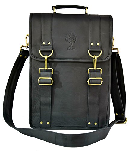 15 Inch Sturdy Leather Ipad Messenger Satchel Vintage Retro Handmade Shoulder Tote Tablet Bag (Outlet Coach Bag)