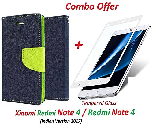 Goelectro Xiaomi Redmi Note 4 / mi redmi note 4 / Redmi Note 4 (COMBO OFFER) Flip Cover Case Wallet Style ( Blue:green ) + + 2.5D curved 3D Edge to Edge Tempered Glass Screen Protector ( White )