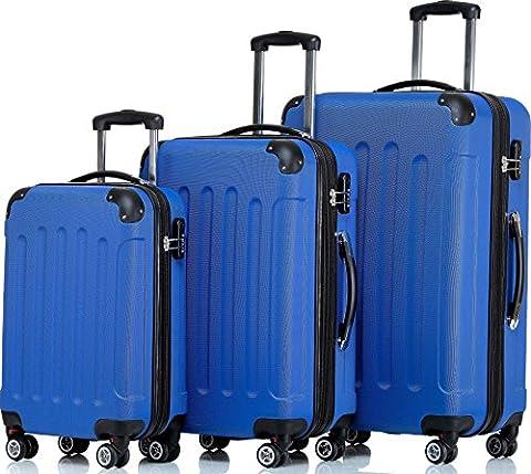 SHAIK ® Serie BUTTERFLY Design FRA 3 Größen M   L   XL   Set   Hartschalen Kofferset 45/78/124 Liter, 4 Doppelrollen, 25% mehr Volumen durch Dehnfalte Zahlenschloss (Set, Blau)