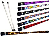 ART DECO Pro Devil Stick Set (7 Arty Designs!) Mit Silikon-Fiberglas handstäbe! Ideal für Anfänger Jonglieren Devilsticks & Pro ist! (SKULLS)