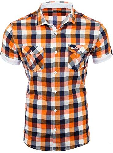 Reslad Herren Hemd kurz Männer Party Freizeit Sommer Figurbetont karriert Kontrast Beach Bügelfrei RS-7065 Orange Weiß XL