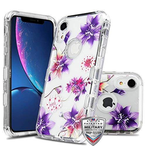 Case+Tempered_Glass + Stylus-Eingabestift MYBAT Hybrid-Schutzhülle für Apple iPhone XR/iPhone 9 (Militär-Zertifiziert), Transparent/Transparent/Stargazers Lila/Pink Blumen Samsung Pink Transparent Faceplates