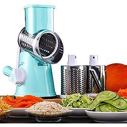 HUADEYI Trancheur de légumes Machine à Couper Les Fruits et légumes Multifonctions Râpe à Fromage à Tambour Rotatif avec 3 Lames rotatives en Acier Inoxydable broyage Tranchage