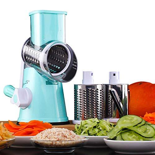 HUADEYIPicadora de Verduras Manual Máquina Multifuncional para Cortar Verduras y Frutas Tipo Tambor...
