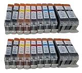 20x 44444 Drucker Patronen ersetzt Canon PGI-5BK CLI-8bk CLI-8C CLI-8M CLI-8Y