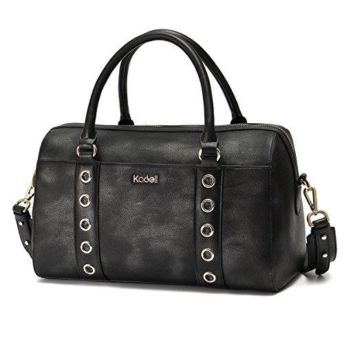 Kadell Leder Tote Top Handle Tasche für Frauen Boston Handtaschen mit breiten Schultergurt Schwarz (Handtasche Top Boston)