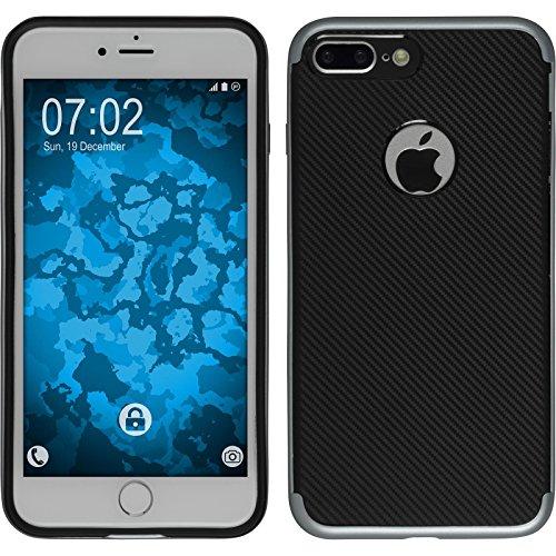 Hybridhülle für Apple iPhone 7 Plus - Carbonoptik Roségold - Cover PhoneNatic Schutzhülle + 2 Schutzfolien Grau