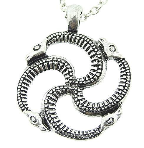 Lovelegis Halskette für Herren und Frauen - Damen Kette - Frauenhalskette - Schlangen - Vikings - Rune - Talisman - Heide - Ouroboros - Silberne (Damen Kostüm Druide)