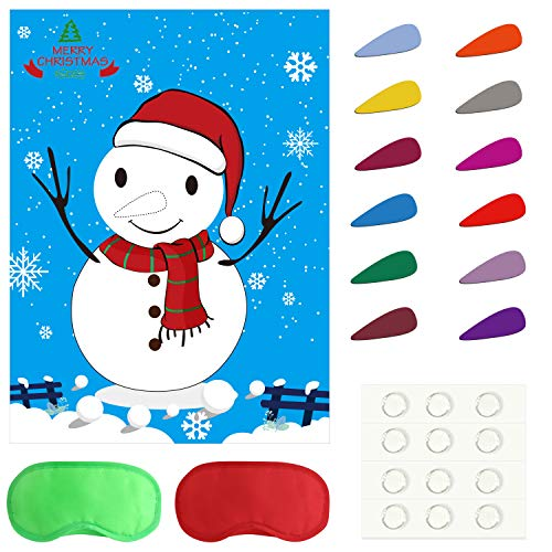 TUPARKA Pin The Nose on Der Schneemann Urlaub - Wiederverwendbares Spiel Weihnachtsparty-Spiele mit 24 Nasen und Augenbinden für Kinder und Erwachsene, Holiday Party Favor Supplies