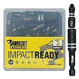 SabreCut, SCPZ25_41, set di punte per avvitatore ad impulsi, 25mm, Pozidriv n. 2, resistenti, contenitore e porta punta inclusi