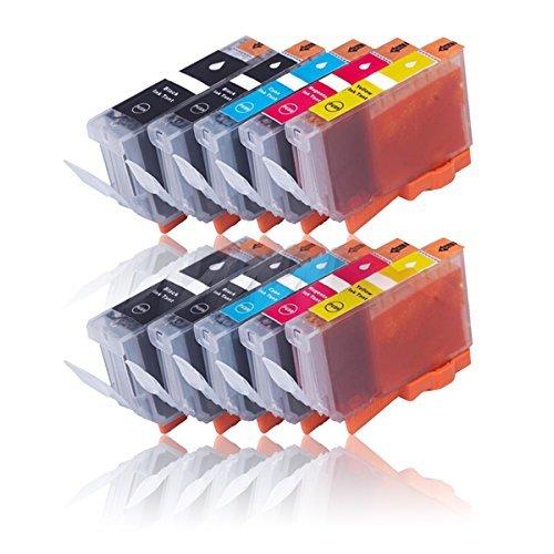 Preisvergleich Produktbild 10 Druckerpatronen für CANON PIXMA IP4840 IP4850 IP4900 IP4950 IX6250 IX6550 MG5100 MG5140 MG5150 MG5200 MG5240 MG5250 MG5300 MG5340 MG5350 MX710 MX715 MX884 MX885 MX890 MX895 etc. mit Chip, kompatibel zu CANON PGI525 CLI526