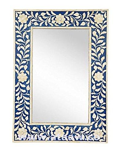 Osso intarsio cornice specchio blu mano antico arredamento (Intagliato A Mano Madreperla)
