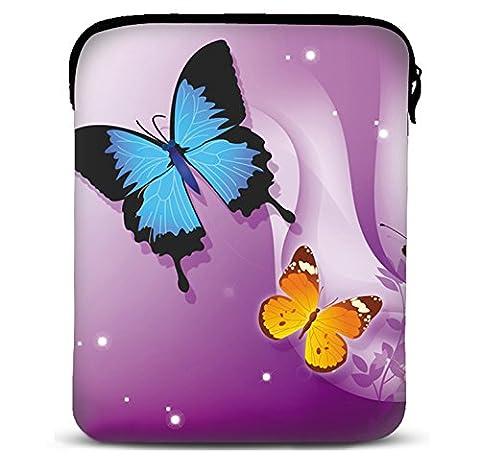 MySleeveDesign Samsung Galaxy Tab 4 7.0 Sleeve Hülle für Tablets von 7 - 7,9 Zoll - Tasche geeignet für Fire HD Apple iPad mini Lenovo A7 Acer A1 One 7 Asus Nexus Kindle uvm. - Butterfly Purple [7]