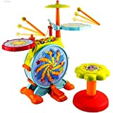 Baby Bucket Electric Big Toy Drum Set For Kids With Movable Working Microphone To Sing And A Chair - Tons Of Various Functions And Activity, Bass Drum And Pedal With Drum Sticks & Adjustable Volume