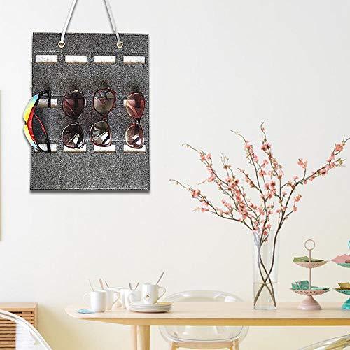 Kaersishop Storage Wand montierte hängende Sonnenbrille Organizer 12 Slots Brille Storage Organizer Halter für Sonnenbrille kurzsichtig Brille