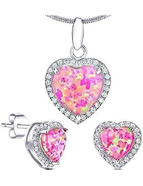 Schmuck-Set mit rosa Opal Silberohrringe Anhänger 925 Sterling Silber