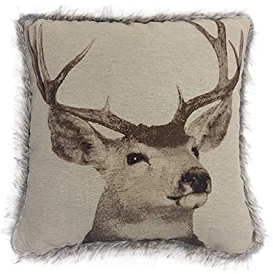 Tapestry Stag 43cm x 43cm Cushion Cover Faux Fur Trim Edge