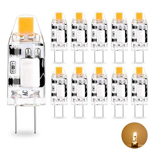 1.2W COB Glühbirnen G4 10W Halogen Glühbirnen Äquivalent Warmweiß 2700K AC/DC 12V Energiesparende LED Lampen, kein Flimmern, 360 ° Abstrahlwinkel, 10er Pack ()