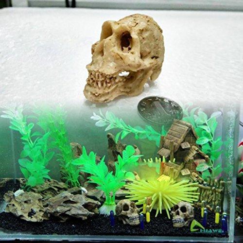 Decoración para acuario con diseño de calavera de resina para peces, decoración para el hogar