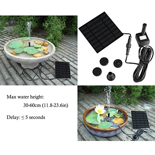 1 1 w solarpumpe teichpumpe gochange springbrunnen pumpe mit 4 verschiedenen d sen solar. Black Bedroom Furniture Sets. Home Design Ideas