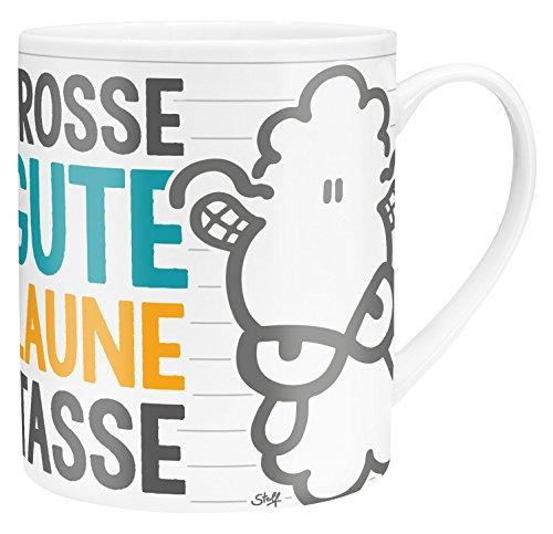 Die Geschenkwelt 45395 XL-Tasse mit Sheepworld-Design Große Gute Laune Tasse, Porzellan, in Geschenk-Verpackung, 60 cl (Große Verpackung)
