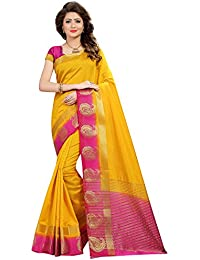 Saree Mall Women'S Silk Blend Saree With Blouse Piece (Yellow_Pmng103_Free Size)