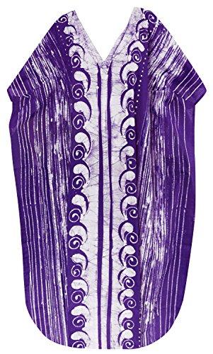 La Leela robe casual main beachwear coton batik maillots de bain maillot de bain kimono caftan des femmes Violet