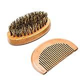 Luxebell Cepillo para Barba, Peine de Madera para Barba, Kit de Barba de Cuidado con Bolsa Pequeña...