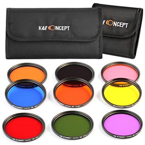 K&F Concept 58mm 9 piezas Ronda Todo Color Filtro Set Naranja Azul Gris Rojo Verde Púrpura Rosa Amarillo Marrón Filtro Kit de Accessorios de Lente para Canon 600D EOS M M2 700D 100D 1100D 1200D 650D DSLR Cámaras + Bolsa de Filtro