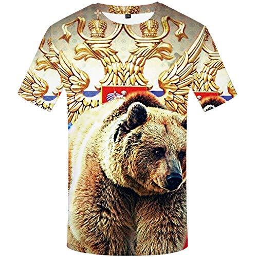 Unisex 3D Print Kurzarm T-Shirt Sport Fitness T-Shirt Graphic Tees Sommermode Rundhals T-Shirt,T-Shirt Bär Tier Rundhals Herren Bedruckt Kurzarm Farbe3 L -