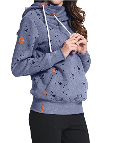 StyleDome Winter Damen Hoodies Pullover Langarm Jacke Top Sweatshirt Pullover Tops Jumper Blau471130 XL - 2