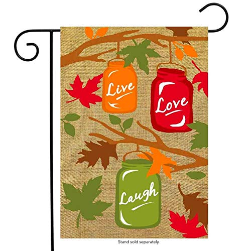 Fall Mason Jars Burlap Garden Flag Autumn Live Laugh Love for Party Outdoor Home Decor(Size: 28inch W X 40inch H)
