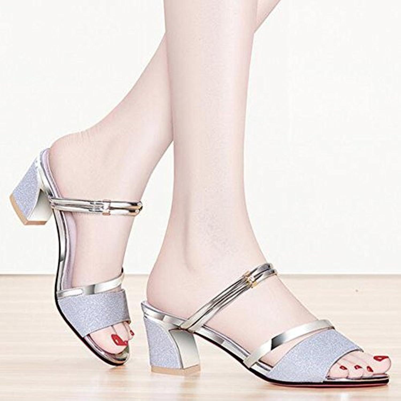 LISABOBO Zapatos de mujer zapatos Club Verano Chunky talón Rhinestone para vestimenta casual elegante y la noche...