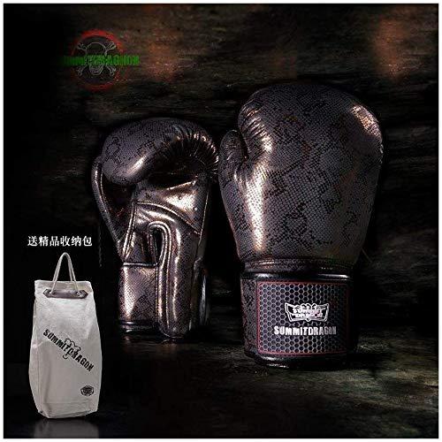 NMDD Erwachsene Boxhandschuhe ohne Filmfüllung Sanda Muay Thai Training Männer und Frauen Handschuhe Arbeitshandschuhe (Farbe: Gold, Größe: 10 oz)