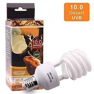 10.0 26W UVB Lampe Terrarium UVB Compact Lampe für Reptil Schildkröte Eidechse Sukkulenten Förderung der D3-Synthese Hilfe Erhöhen Sie die Kalziumabsorption, E27, 220-240V