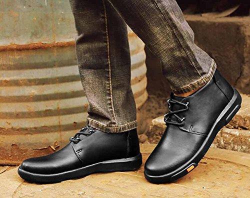 Uomo Casual Flats Shoes Autunno Inverno New Leather Outdoor Warm Walking Shoes Scarpe Di Grandi Dimensioni Black