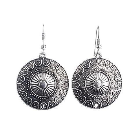 Lureme Ethnique Style Bijoux Antique Argent Rond Shaped Pendant Hook boucles d'oreilles for Women and Filles (02004293)
